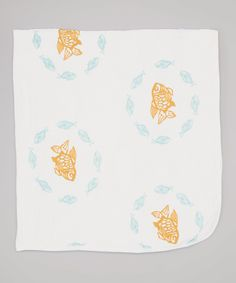 Look what I found on #zulily! 47'' x 47'' Teal Goldfish Double-Layer Organic Muslin Swaddling Blanket by Bambino Land #zulilyfinds