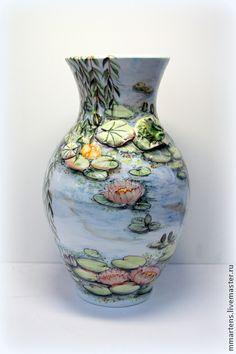 """Ваза фарфоровая """"Водяные лилии. Моне"""". Handmade."""