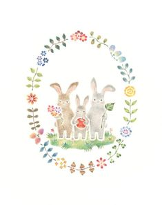 도안하기좋은 일러들 발견 : 네이버 블로그 Easter Illustration, Family Illustration, Forest Illustration, Watercolor Projects, Watercolor Sketch, Wreath Drawing, Watercolor Animals, Cute Images, Painting Inspiration