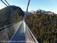 highline 179, die längste Fußgängerhängebrücke der Welt: Gesamtspannweite 406 Meter, Höhe 113 Meter, Traglast 1000 Personen!
