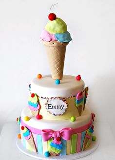 Ice cream cake by luckygurl1203 on Cake Central.
