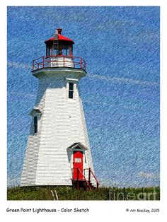 Color Sketch - Green Point Lighthouse