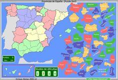 Puzzle interactivofácil, de las provincias de España. Tienes que arrastrar cada pieza hasta completar el mapa.
