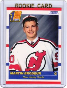 My most prized hockey card Hockey Shot, Ice Hockey, Hockey Cards, Baseball Cards, Martin Brodeur, New Jersey Devils, National Hockey League, Montreal Canadiens, Hockey Players