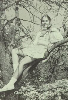 Cheerleader Cindy Stoffen in the 1977 yearbook of Marion High School in Marion, Illinois