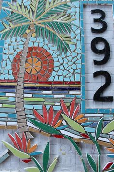 This is a Mosaic House Numbers, palm tree and tropical Bird of Paradise Flowers that I am making for a client. The size is 18 x 24. It will be attached directly to the house with long screws. I use all cement board and hardi backer siding for my frame. No plywood, so nothing to get warped. I use ceramic wall tile in the most vibrant colors. I cut many of the pieces with a wet saw. That is how I get the tiny little parts. I am posting this listing so you can follow the progress. If you are…