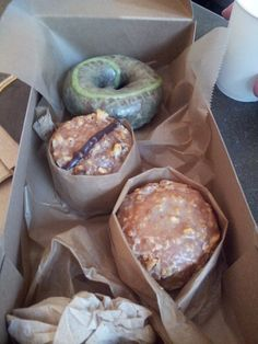 Triple chocolate mint cake doughnut, and hazelnut chocolate and peanut butter and jelly doughseeds. | Yelp
