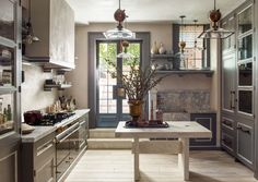 An A-List Designer's Iconic New York Home for Sale Steven Gambrel has long been one of my favorite interior designers. From his signature, cool blue-grey color palettes to his specific mix of masculine style executed in the most elegant way, Interior Design Tips, Interior Design Kitchen, Kitchen Decor, Kitchen Ideas, Kitchen Sink, Modern Interior, Design Ideas, Kitchen Images, Kitchen Small