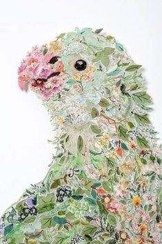 Louise Saxton - Queenie Billie - detail Art And Illustration, Illustrations, Art Design, Textile Design, Art Du Collage, Bird Quilt, The Design Files, Textile Artists, Embroidery Art