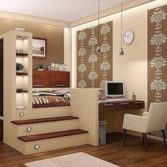 43 Tips and Ideas Small Studio Apartment Design Teen Room Decor, Bedroom Decor, Teen Rooms, Bedroom Ideas, Small Apartments, Small Spaces, Attic Spaces, Small Studio Apartment Design, Small Room Bedroom