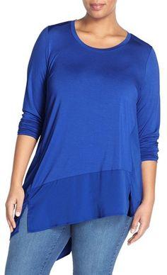Plus Size Women's Melissa Mccarthy Seven7 Mixed Media Asymmetrical Hem Top