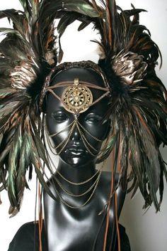 CUSTOM ORDER Large Warrior Style Headdress by MissGDesignsShop, $425.00