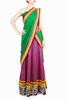 Design Cottage #Purple and #Green #HalfSaree exclusively on Violet Street, India's Largest #online #designers & #boutique #marketplace!  #ethnic #party #traditional #feminine