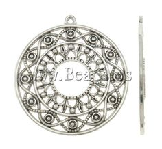 Zinc Alloy Flat Round Pendants, antique silver color plated, nickel, lead & cadmium free, 45x49x2mm,china wholesale jewelry beads