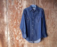 5a9e040a140 Vintage 1980s like new Wrangler western blue denim shirt pearl snaps extra  long tails Made in USA unisex mens M L 16 x 34