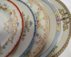 Vintage Mismatched China Dinner Plates Set of 5 by LBFCollections