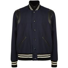 Saint Laurent Leather Trim Varsity Jacket ($1,940) ❤ liked on Polyvore featuring mens, men's clothing, men's outerwear y men's jackets