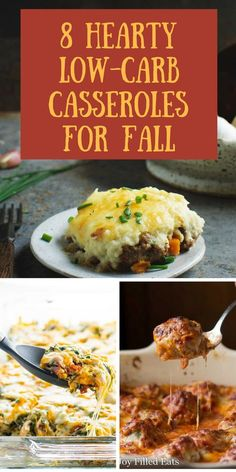 These Eight Hearty Low-Carb Casseroles for Fall will satisfy any appetite. These delicious recipes are low-carb, keto, Atkins, diabetic , gluten-free, grain-free, and Banting friendly.