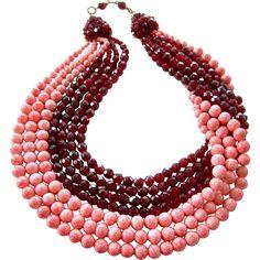 Coppola e Toppo 2-Tone Red Swag Collar Necklace w/ Faux Garnets, Speckled Coral