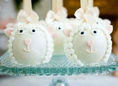 Maçãs decoradas ovelhas