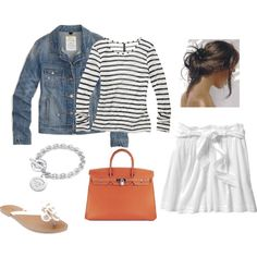 White skirt and jean jacket