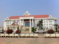 The Prime Minister's office in front of Patuxai Park in Vientiane, Laos.