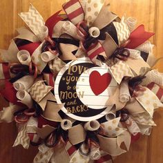 """Everyday or Valentine's Day deco mesh black, tan, burgundy wreath with """"Love you to the moon and back"""" wooden sign"""