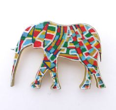 Elephant Brooch, Hand Painted Jewelry, Gifts for Her, Elephant Jewelry, Unique Jewelry, Wooden Jewelry, Cute Jewelry, Animal Jewelry by Larryware on Etsy