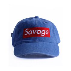 Nerdy Fresh Savage Denim sportcap ($34) ❤ liked on Polyvore featuring men's fashion, hats and denim