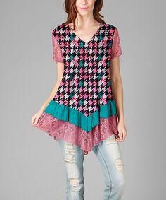 Pink & Black Geometric Lace Ruffle Point-Hem Tunic