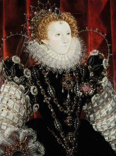 Attributed to Hilliard, Queen Elizabeth I, Waddesdon (Rothschild Family); Power & Portraiture: painting at the court of Elizabeth I - Waddesdon Manor Elizabeth I, Elizabethan Fashion, Elizabethan Era, Tudor History, British History, Isabel I, Tudor Dynasty, Mary Queen Of Scots, Medieval