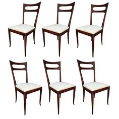 Set of Six 1960s Ico Parisi Dining Chairs | From a unique collection of antique and modern side chairs at https://www.1stdibs.com/furniture/seating/side-chairs/