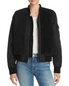 MOTHER The Aviator Sherpa Jacket | Bloomingdale's