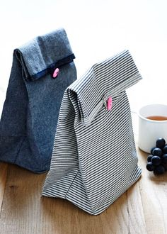 DIY: button lunch bags - you could make these out of jeans legs instead of new denim!