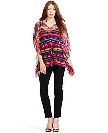 Lauren Ralph Lauren Striped Drawstring Poncho & Twill Straight-Leg Pants
