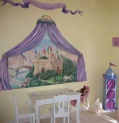 http://www.sewingpartsonline.com/ Amazing mural for a little princess