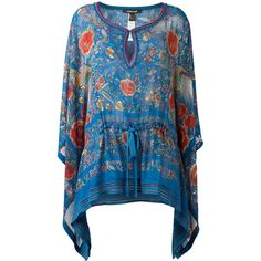 Roberto Cavalli printed draped blouse (12.750 ARS) ❤ liked on Polyvore featuring tops, blouses, blue, print top, drapey top, print blouse, roberto cavalli blouse and pattern blouses