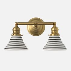 Kids Bath Schoolhouse Electric Montclair Double sconce $189-214, natural brass finish, can mix and match shades