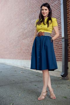 yellow-green with navy! full skirt! striped belt!