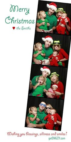 Getting Snazzy with the Smiths  Check out tons of other great cards on www.yourmerrymailbox.blogspot.com  Photo Booth | Christmas | Christmas Card | Props  Red & Green | Film Strip | Santa Hat | Family
