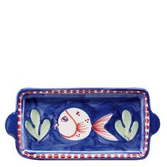 "Vietri Pesce Small Rectangular Plate by VIETRI. $34.00. Dimensions: 8""L, 4""W. Brand New - First Quality. The colorful blue and red handled Pesce small rectangular plate, featuring whimsical handpainted fish swimming among green algae, is perfect for cheese, butter or on the dresser for jewelry or change. Mix with other animals from the Campagna collection to create a fun table that captures the vitality of the Italian countryside! Handpainted on terra cotta in..."