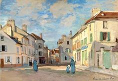 The Old Rue De La Chaussee, Argenteuil Artwork By Claude Oscar Monet Oil Painting & Art Prints On Canvas For Sale Monet Paintings, Impressionist Paintings, Landscape Paintings, Claude Monet, Pierre Auguste Renoir, Edouard Manet, Artist Monet, Oil Painting Reproductions, Edgar Degas