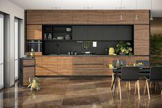 Prezentujemy kuchnię nowoczesną z czarnym akcentem. Fronty fornirowane w orzechu naturalnym ON 32 z czarnym uchwytem krawędziowymi TUX45 Plus kolor. Kuchnia wykończona w macie, włącznie z wewnętrznymi czarnymi frontami lakierowanymi. Modern Kitchen Interiors, Luxury Kitchen Design, Kitchen Room Design, Kitchen Cabinet Design, Kitchen Layout, Home Decor Kitchen, Interior Design Kitchen, Open Plan Kitchen Living Room, Home Design Decor
