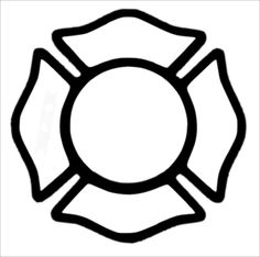 Maltese Cross - I want this outline with these words, top: Fire, bottom: Rescue, left side: Waterville, right side: Maine and inside: Bradley Davis Wing. For my father! Maltese Cross Firefighter, Firefighter Decor, Firefighter Clipart, First Birthday Crafts, Maltese Cross Tattoos, Fireman Quilt, Festa Hotel Transylvania, Fire Badge, Stickers