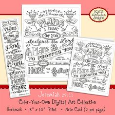 Jeremiah 29:11 Coloring Collection Bookmarks NoteCards and 8x10 Print INSTANT DOWNLOAD Scripture Christian Religious Bible Verse