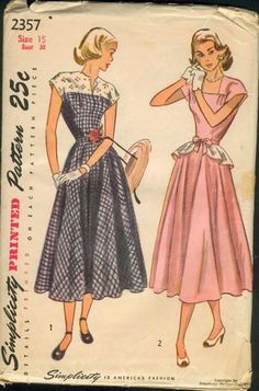 Late 40s post-war day dress.  Choice of square or slash neckline and optional peplum belt.