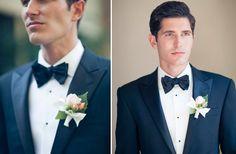 Navy tuxedo, black bowtie