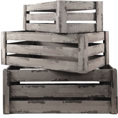 3Set Wood Nested Vintage Rustic Shabby Chic Crates