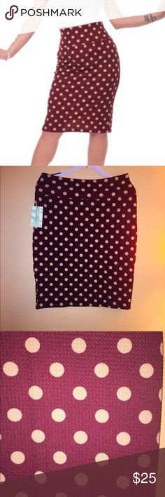 Polka Dot Wiggle Skirt in Ruby Pinup Rockabilly NWT Polka Dot Wiggle Skirt that is super comfy and stretchy!!! Slip on with a wide waist band to smooth everything out.   Rockabilly, retro, vintage, ModCloth, VLV, Pencil Skirt Steady Clothing Skirts Pencil