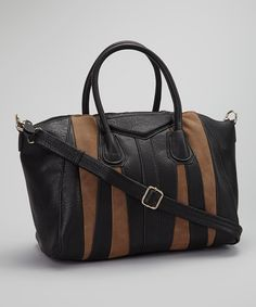 Black & Brown Stripe Satchel | Daily deals for moms, babies and kids